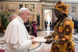 Pope Francis receives letters of credential from Filomena Mendes Mascarenhas Tipote, the new ambassador of Guinea Bissau to the Holy See, during a ceremony May 23, 2019, in the Clementine Hall of the apostolic palace at the Vatican.
