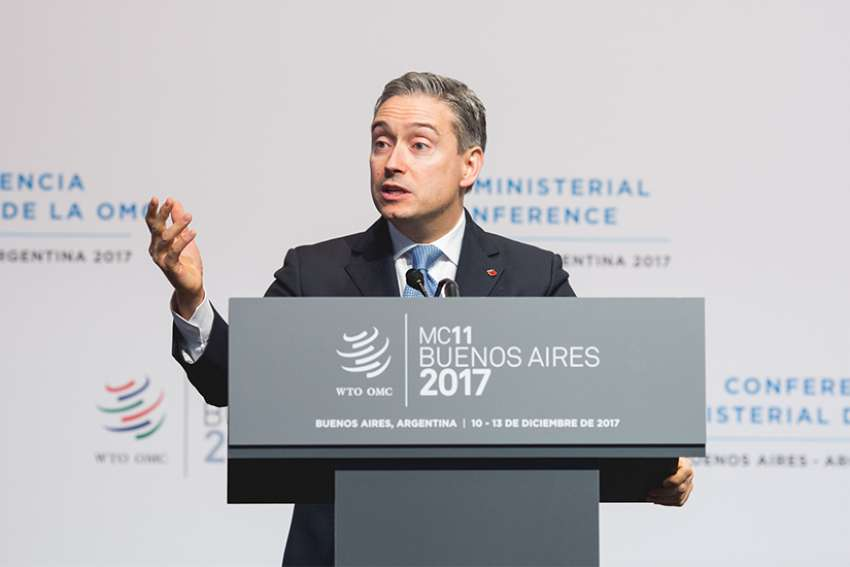 International Trade Minister Francois-Philippe Champagne speaks at the opening plenary session of the World Trade Organization's Ministerial Conference in Buenos Aires, Argentina. Canadian mining operations Latin America will come under further scrutiny with establishment of ombudsperson to look into human rights abuses.