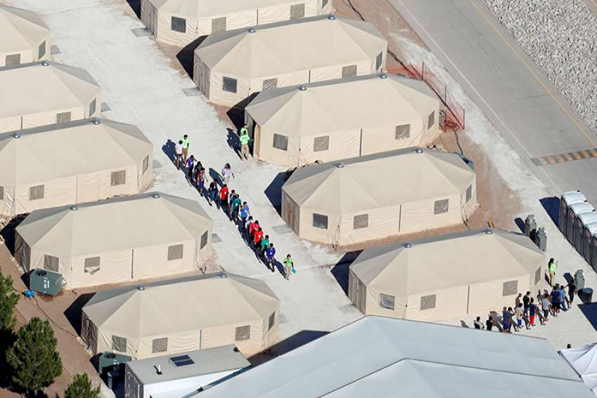 Immigrant children are seen at a tent city in Tornillo, Texas, June 18.