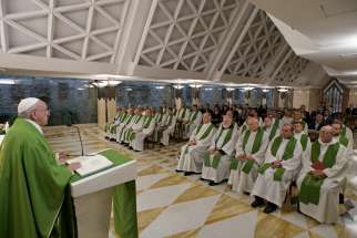 Pope Francis celebrates Mass in the chapel of his Vatican residence, the Domus Sanctae Marthae, Sept. 19, 2019. In his homily, the pope spoke about ordained ministry as a gift from God, not a job.