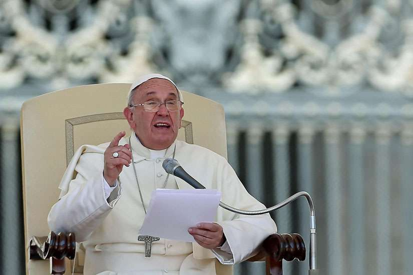 Pope Francis speaks during his weekly audience in St. Peter's Square at the Vatican June 3