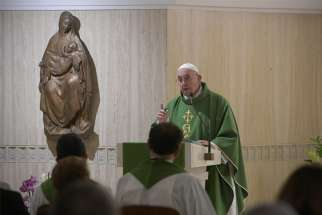 Pope Francis celebrates Mass Oct. 25, 2019, in the chapel of his residence, the Domus Sanctae Marthae.