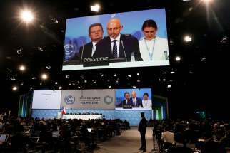COP24 President Michal Kurtyka speaks during a final session of the U.N. climate change conference in Katowice, Poland, Dec. 15.