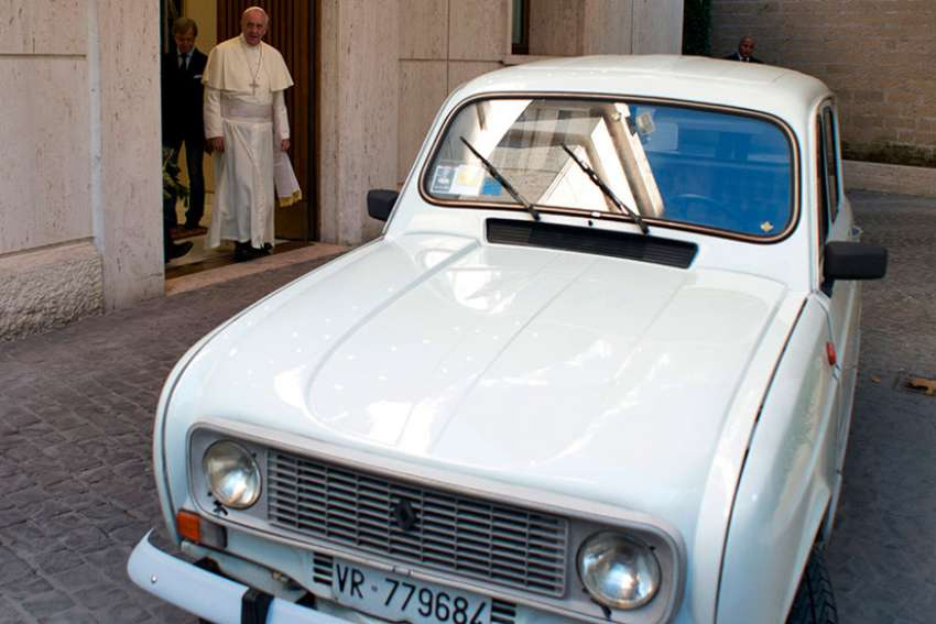 "A white 1984 Renault that Father Renzo Zocca donated to Pope Francis in 2013 highlights the importance of ""a poor church for the poor."" The Italian priest put more than 180,000 miles on the car, ministering to drug addicts and the poor. Pope Francis told the priest he had the same make and model when he worked in Buenos Aires, Argentina, and it ""never let him down."""