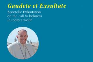 "The cover of the English edition of Pope Francis' exhortation, ""Gaudete et Exsultate"" (""Rejoice and Be Glad""), on the ""call to holiness in today's world."" Released April 9, 2018."