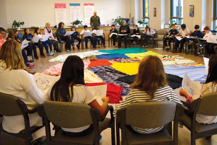 Students take part in a Blanket Exercise at Toronto's Mary Ward Centre.