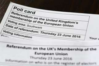 A poll card regarding the referendum on the United Kingdom's membership of the European Union is seen in London May 23. Bishop Kenney said European Funding for Catholic aid agencies could be withdrawn if Britain leaves the European Union.