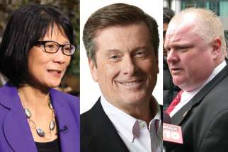 Toronto mayoral candidates Olivia Chow, left, John Tory, center, and Rob Ford, right.