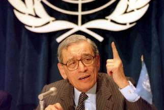Former U.N. Secretary-General Boutros Boutros-Ghali died Feb. 16 at a hospital in the Egyptian city of Giza at age 93. He is pictured in a 1993 photo.