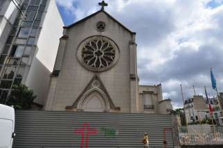 St. Rita's Church in Paris was shut down recently and awaits demolition. This photo was taken on July 14, 2015.