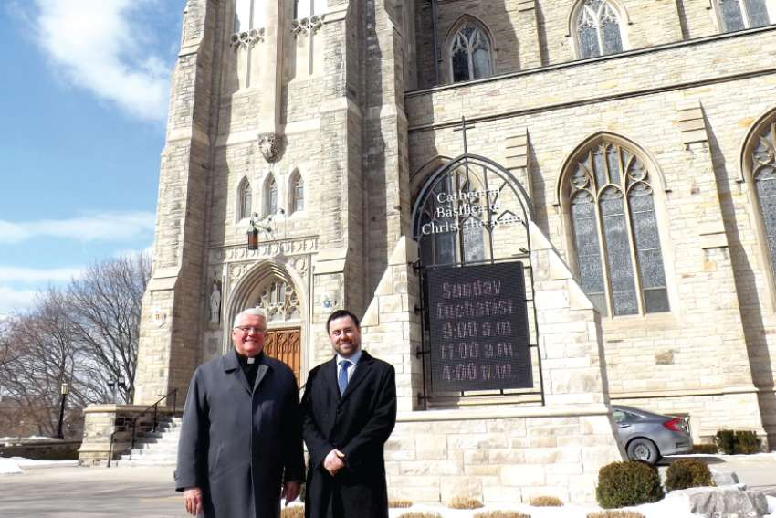 Bishop Douglas Crosby and Francis Doyle of the Diocese of Hamilton are confident parishioners will respond to the One Heart, One Soul campaign and its goal of $35 million.