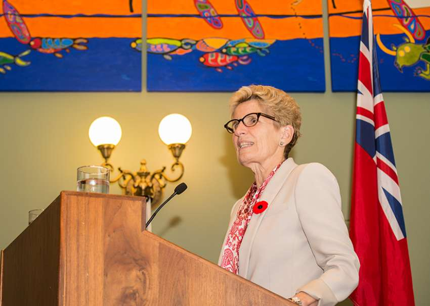 Ontario Premier Kathleen Wynne addresses faith leaders at the annual ISARC event at Queen's Park Nov. 2.