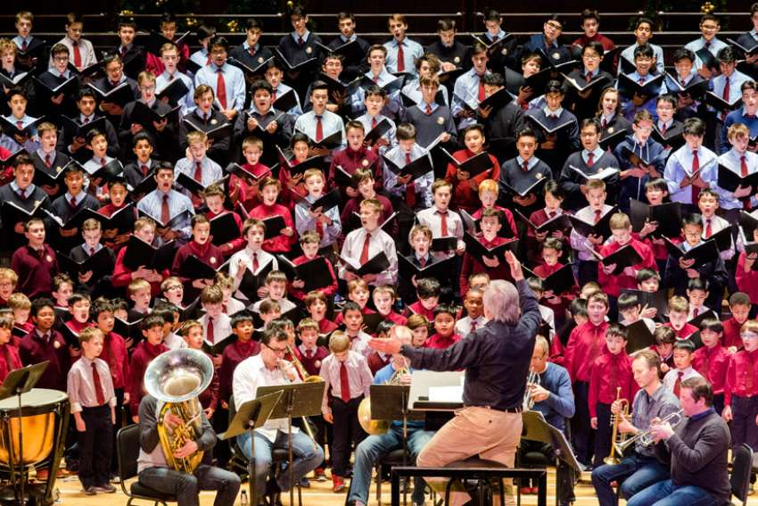 One of St. Michael's Choir School's choirs at dress rehearsal Dec. 2 for the annual Christmas concert at Massey Hall.