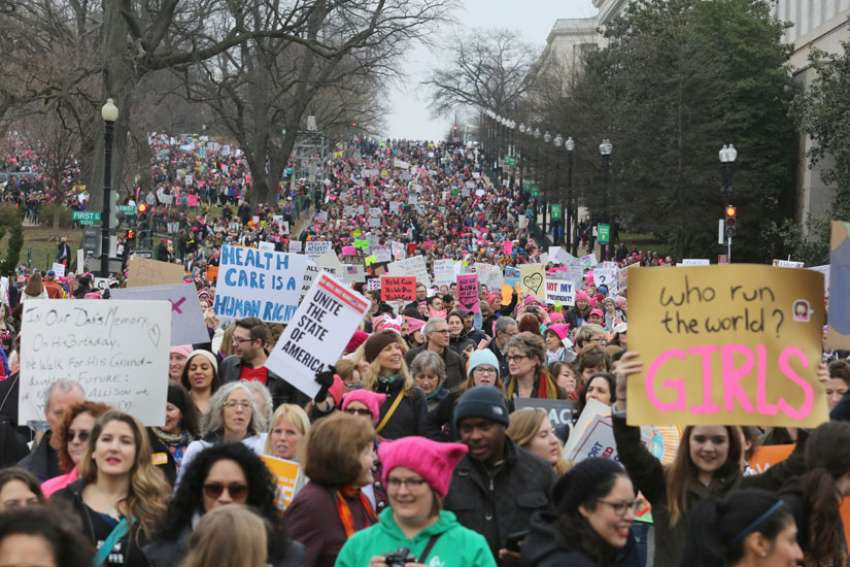 Participants in the Women's March on Washington make their way down Independence Avenue Jan. 21.