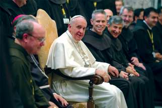 Pope Francis meets with delegates to the general chapter of the Order of Friars Minor during an audience with 200 Franciscan leaders at the Vatican in 2017.