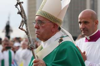 Pope Francis arrives to celebrate Mass in Revolution Square in Havana Sept. 20.