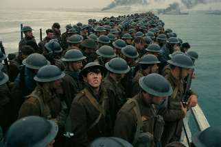 "Soldiers are shown in a scene from the movie ""Dunkirk."""