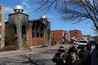 A fire struck Greek Orthodox church Koimisis Tis Theotokou in Montreal April 13, Easter Monday for the Orthodox Church.