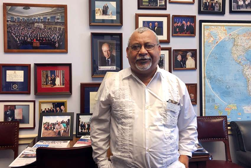 "Jesuit Father Ismael Moreno waits in the office of Georgia Congressman Henry ""Hank"" Johnson at the U.S. Capitol May 17 before a news conference. The Honduran priest, better known as Father Melo, met in mid-May with U.S. lawmakers about stopping military aid to the Central American country."