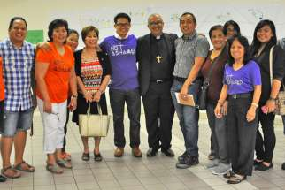 St. Joseph the Worker parishioners packed and sent 300 aid boxes to the Philippines in the wake of Typhoon Haiyan in 2013. Bishop Gerardo Alminaza of San Carlos, Philippines, above, visited the Thornhill, Ont., parish Aug. 21 to personally thank volunteers for all they had done. (Photo courtesy of St. Joseph the Worker parish)