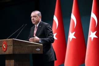 Turkish President Recep Tayyip Erdogan speaking during a July 20 press conference in Ankara. Erdogan has declared a three-month state of emergency after a July 15-16 coup attempt.