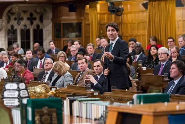 Prime Minister Justin Trudeau delivering a speech in the House of Commons in March 2016.