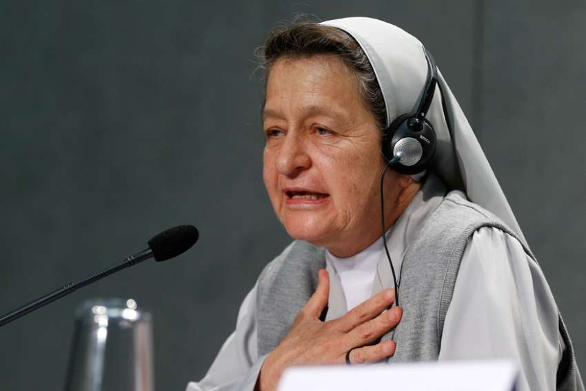 Sister Alba Teresa Cediel Castillo, an indigenous member of the Congregation of Missionary Sisters of Immaculate Mary and of St. Catherine of Siena, speaks at a news briefing after the first session of the Synod of Bishops for the Amazon at the Vatican Oct. 7, 2019.