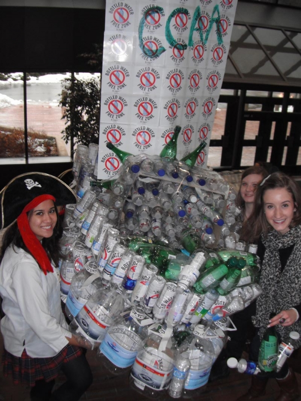 Students from Cardinal Carter Academy for the Arts hold their pirate ship made from plastic water bottles during a rally held on Bottled Water-Free Day at the Catholic Education Centre in March. From left to right, Ann Blennerhassett, Clare Wheeler and Madeline Della Mora.
