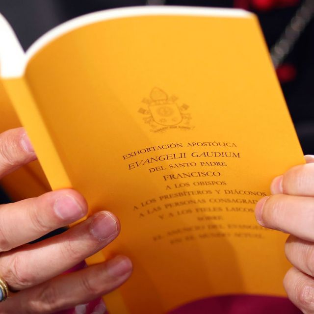 "A copy of the apostolic exhortation ""Evangelii Gaudium"" (""The Joy of the Gospel"") by Pope Francis is seen during a news conference at the Vatican Nov. 26. In his first extensive piece of writing as pope, Pope Francis lays out a vision of the Catholic Chu rch dedicated to evangelization, with a focus on society's poorest and most vulnerable, including the aged and unborn."
