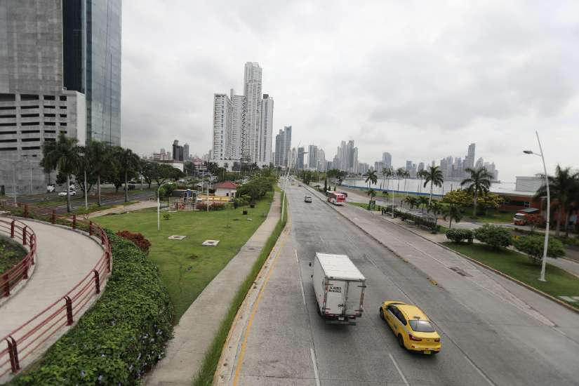 Traffic flows along the Cinta Costera area of Panama City.