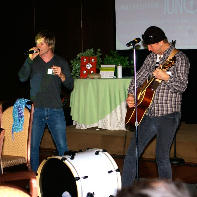 "Tom Barlow, left, nominated for three Juno Awards and a graduate of Brebeuf College, performed at the ""No Health without Mental Health"" symposium run by the TCDSB in November. The event kicked off the Stop the Stigma campaign to increase mental health awareness in schools."