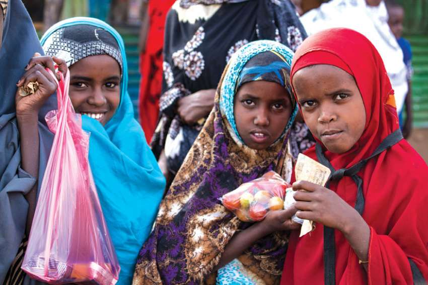 Young girls in a refugee camp in the Ethiopian border town of Dollo Ado. They are some of the nine million refugees in east Africa who have been forgotten by much of the world.