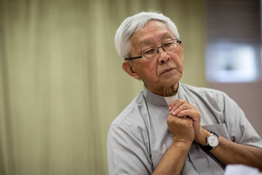 Cardinal Joseph Zen Ze-kiun, retired bishop of Hong Kong, speaks to members of the media during a news conference in Hong Kong Sept. 26 concerning Pope Francis' landmark agreement with China over bishop nominations.