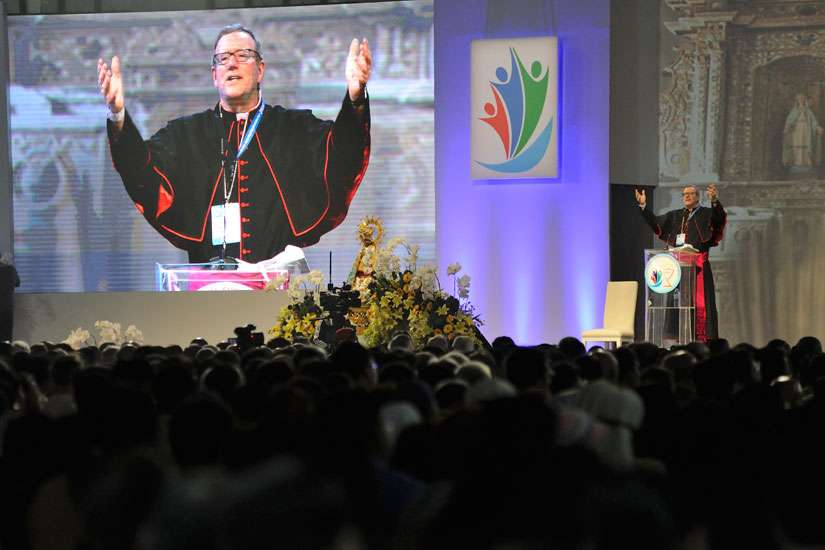 Los Angeles Auxiliary Bishop Robert E. Barron speaks at a session of the 51st International Eucharistic Congress in Cebu, Philippines, Jan. 26.