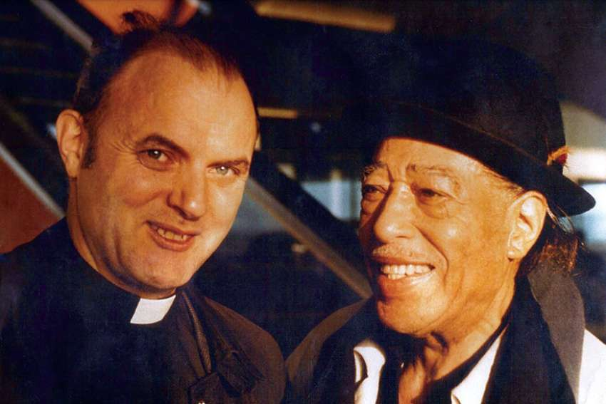 Fr. Gerald Pocock, left, with jazz great Duke Ellington. The two were great friends