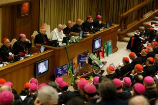 Pope Francis speaks at the start of the first session of the Synod of Bishops for the Amazon at the Vatican Oct. 7, 2019.
