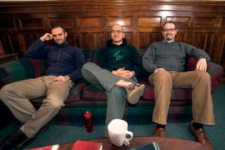 Three Canadian Jesuits — from left, Artur Suski, Edmund Lo and John O'Brien — began their Jesuit life together in Montreal in 2008.
