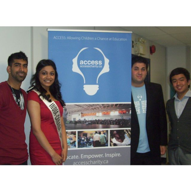 Speakers at the ACCESS Charity Youth Making a Difference Conference from left to right: Abid Virani, founder of the I Have Hope in the Fight against AIDS foundation, Akhina Mooken, Miss India-Canada 2011, Daniel Francavilla, ACCESS founder, and Aian Binlayo, student trustee for the DPCDSB.