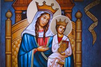 A painting of Our Lady of Walsingham, the Catholic national shrine dedicated to Mary in Norfolk, England.