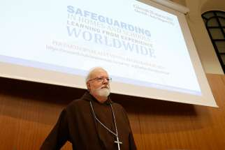 U.S. Cardinal Sean P. O'Malley, president of the Pontifical Commission for the Protection of Minors, is pictured during a seminar on safeguarding children at the Pontifical Gregorian University in Rome March 23.
