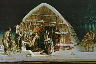 "This postcard depicts a scene associated with ""The Huron Carol,"" the oldest Canadian Christmas song."