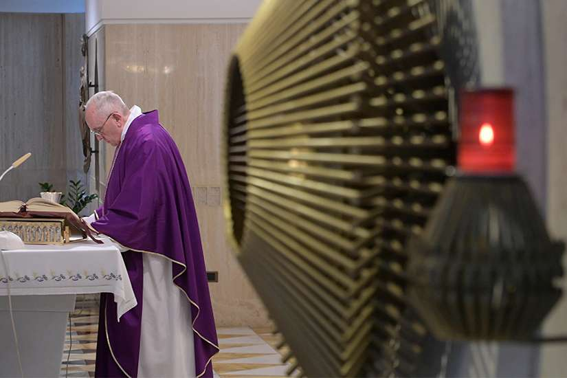 Pope Francis celebrates Mass March 8, 2019, in the chapel of his Vatican residence, the Domus Sanctae Marthae.