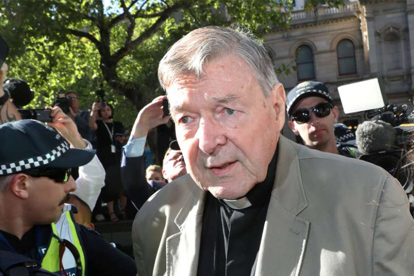 Cardinal George Pell arrives at the County Court in Melbourne, Australia, Feb. 27, 2019.