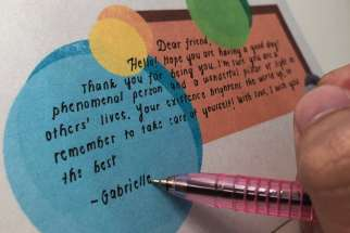 Handwritten postcards from TCDSB's Catholic Leadership Team are helping to brighten the day for isolated seniors.