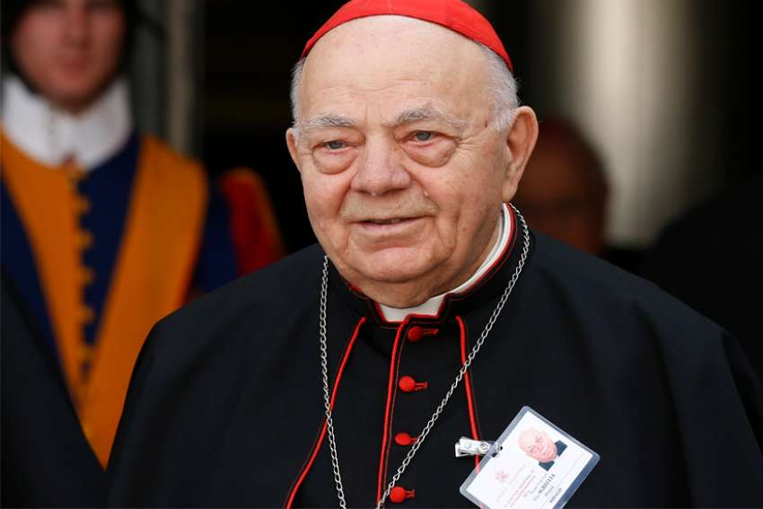 Cardinal Elio Sgreccia, former head of the Pontifical Academy for Life, died June 5 at the age of 90. In his role at the academy Cardinal Sgreccia helped articulate the Vatican's position on life issues. He is pictured leaving a session of the extraordinary Synod of Bishops on the family at the Vatican in this Oct. 16, 2014, file photo.