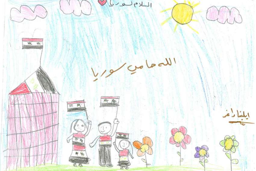 """Peace for Syria, God is protecting Syria"" by Elena Dagher. Muslim and Christian children from more than 2,000 Syrian schools submitted drawings of their country's civil war last October. A selection of those are now on display in Montreal at an exhibit titled ""Drawings of Children for Peace in Syria."""