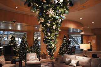 The upside down tree at the Fairmont Vancouver Airport has been a hit with guests, boasting hand-painted travel-themed ornaments.