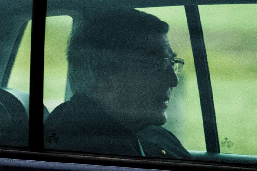 Cardinal George Pell is seen in a car after being released from Barwon prison in Geelong, Australia, April 7, 2020.