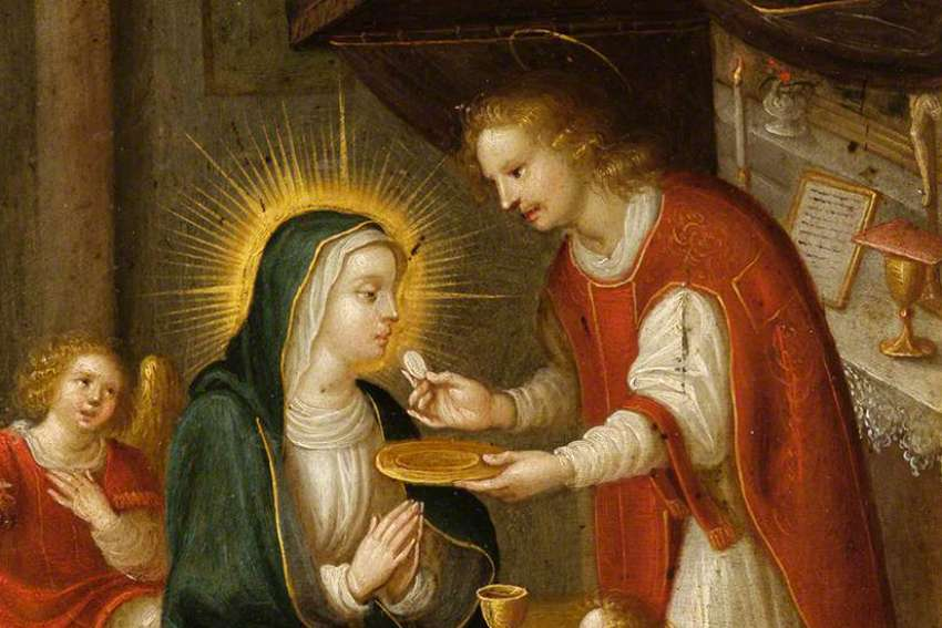 The Virgin Mary receiving the Eucharist from St. John the Apostle.