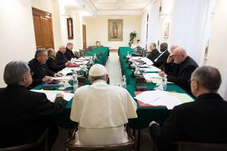 Pope Francis leads the 18th meeting of his Council of Cardinals at the Vatican Feb. 13, 2017. Some members of the Pope's advisory Council of Cardinals, also called the C9, were present at the Mass on the first day of three days of council meetings.